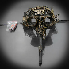 LIGHT UP Steampunk Plague Doctor Theater Masquerade Mask for Men - Metallic Gold