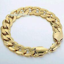 12.5MM LARGE Heavy 18K GOLD filled Mens Bracelet chain Vanlentines Gift Son Dad