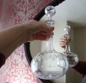 Antique Art Nouveau Decanter with Etched Stars and Garland