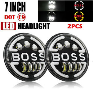 "Pair 7"" inch Round LED Headlights High/Low for Chevy C10 C20 Camaro Pickup Truck"
