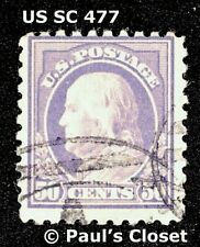 US FRANKLIN 50¢ VIOLET 1917 PERF 10 SC 477 USED NO GUM FINE - VFINE SEE PHOTOS