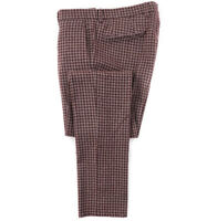New $345 L.B.M. 1911 Slim-Fit Burgundy Houndstooth Wool Dress Pants 32 (Eu 48)