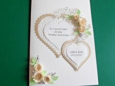 Handmade Personalised  Silver Anniversary Wedding Card  Ivory Roses Hearts Boxed