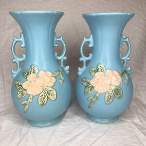 LARGE PAIR -  Double Handle Vase: Weller Art Pottery - Blue Floral Flowers Matte