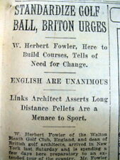 BEST 1920 newspaper STANDARDIZATION o GOLF BALL PROPOSED by ST ANDREWS officials