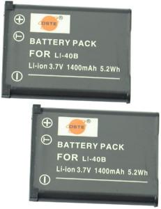 DSTE® 2x Li-40B Rechargebale Li-ion Battery for Olympus D-630 D-720 D-725 IR-300