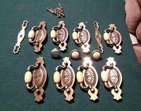 8 Vintage Brass & Ivory Cream/Beige Ceramic Cabinet Pulls Bronze Distressed
