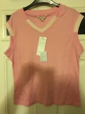 Image Ladies Brand New Pink Striped Sleeveless V Necked Top Size Large
