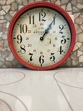 "Antiquitè  De Paris 28 Rue Murillo Red Distressed Metal Rim Wall Clock 13""X 13"""