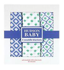 NIB HUDSON BABY 3 MUSLIN SWADDLE BLANKETS