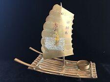 Vintage Chinese/Asian Brass Sailboat Raft Incense Burner Figurine