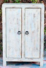Pale Blue Oriental Antique Chinese Cabinet Asian Lacquer Wardrobe