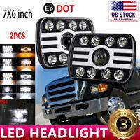 "For Ford E-100 E-150 E-250 E-350 Econoline 5x7"" 7x6 LED Headlight Hi/Lo DRL Beam"