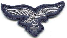 WWII German Luftwaffe Breast Eagle Iron Cross Silver on Blue Wool w Border
