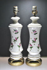 SIGNED VINTAGE PORCELAIN LAMPS WITH HAND PAINTED ROSE DESIGN & GOLD GILT (PAIR)