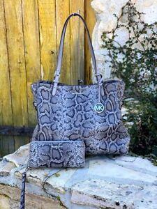 NWT Michael Kors Large Lenox Animal print embossed leather handbag/Wallet OPTION
