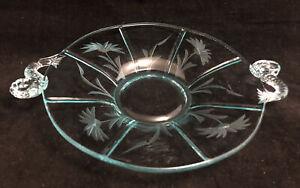 "Vintage 1920s Fenton Art Glass Aqua Blue Etched 6.5"" Plate w/ Dolphin Handles"