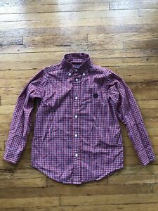 Boys' Chaps L/S Red/White/Blue Plaid Button Down Shirt; Size 6; EUC