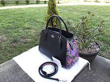 COACH Small Margot Carryall Floral Purple Black Satchel Leather Shoulder F 57630