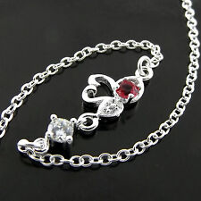 ANKLET GENUINE REAL 925 STERLING SILVER S/F RUBY DIAMOND SIMULATED SWAN DESIGN