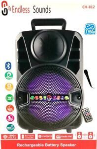 8'' Portable FM Bluetooth Speaker 1500W Subwoofer Heavy Bass Sound System Party