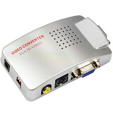 Computer Laptop PC VGA to TV AV, RCA, S-Video Converter Adapter Box Composite