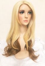 Bleach blonde 613 human hair wig, lace front dip dyed brown colour 27