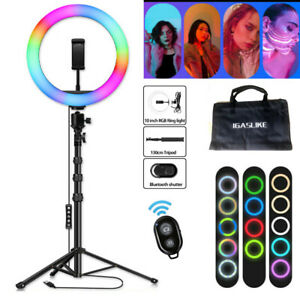 "Ringlicht 10"" LED Ringleuchte Handyhalter Kit Selfie mit 130cm Stativ Fotografie"