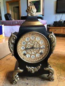 "ANSONIA ""CALAIS"" BLACK ENAMELED & GOLD 8 DAY CAST IRON MANTEL CHIME CLOCK"