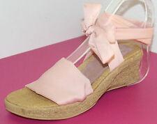 SANDALES COMPENSEES FILLE 28 liens cheville rose princesse cuir REQINS NEUF