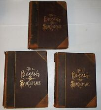 1891 BRYANT SHAKESPEARE COMPLETE 3 VOLUMES COMEDIES TRAGEDIES HISTORICAL & POEMS