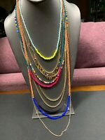 Vintage Bohemian Multi Color 9 Strand Beaded Sweater Necklace 38""