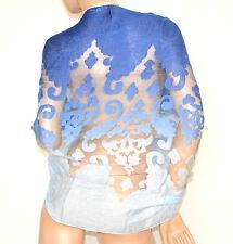 STOLA BLU AZZURRO CELESTE 50% SETA coprispalle scialle foulard ricamo velato A10