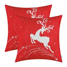 "2Pcs CaliTime Christmas Red Cushion Cover Pillow Shells Reindeer Home Car 20x20"""