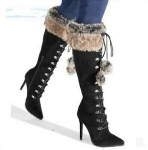 Sexy Pure Color Black Women Winter Fur Trim Pointed Toe High Heel Mid Calf Boots