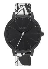 NWT Nixon Kensington Leather Watch Black Bleach 37mm Womens aa58