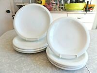 CRATE&BARREL CULINARY ARTS CAFEWARE 8 PC.PORCELAIN DINNERWARE SET in SOLID WHITE
