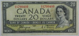 1954 BANK OF CANADA TWENTY DOLLARS B/E DEVILS FACE BC-33a COYNE TOWERS NOTE