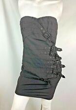 Nikibiki womens dress size medium black stretchy strapless goth buckles silver