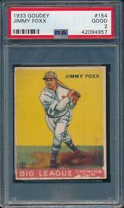 1933 Goudey Baseball Jimmy Foxx #154 PSA 2 ATHLETICS HOF