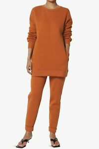 TheMogan S~3X Lounge Fleece Crew Hood Pullover Sweatshirt Jogger Sweat Pant SET