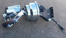 "CHROME Chevy Truck 8"" Power Booster Smooth Master Cylinder & Bracket Disc Drum"