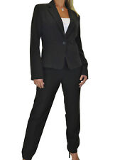 Womens Business Fully Lined Blazer Jacket Trousers Suit Washable Black NEW 12-14