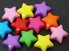 100 cute 12mm STAR Multicolor acrylic plastic loose beads