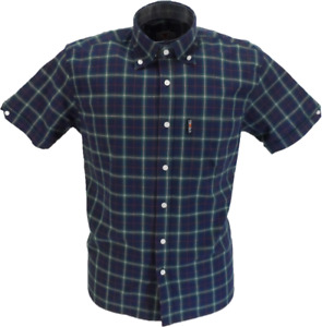 Trojan Mens Navy Check 100% Cotton Short Sleeved Shirts and Pocket Square