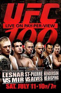 UFC 100 Event Poster - Lesnar vs Mir - GSP vs Alves - MMA - 11x17 13x19