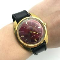 VOSTOK Red Dial Gold Plated Vintage Luxury Watch USSR 18k 2409 Mechanical Men's