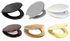 MDF WOODEN TOILET SEAT W/ FITTINGS ADJUSTABLE CHROME HINGES BATHROOM SOFT CLOSE