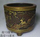 Collect Rare China Tibet Buddhism Temple Purple Bronze Gilt Statue Pen Container