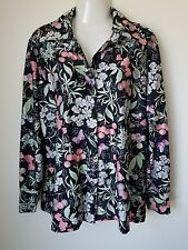 Vtg 60s 70s Pointed Collar Button Up Blouse Shirt Sz 18 Black Floral Butterfly